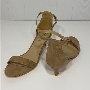 Euncer | Ankle Strap Suede Tan Heel Shoe